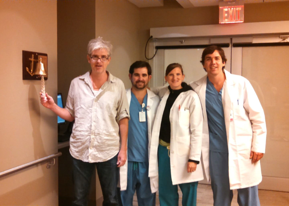 """Shanahan rings the """"Good Luck Bell"""" to celebrate the last day of treatment. (MARK SHANAHAN)"""
