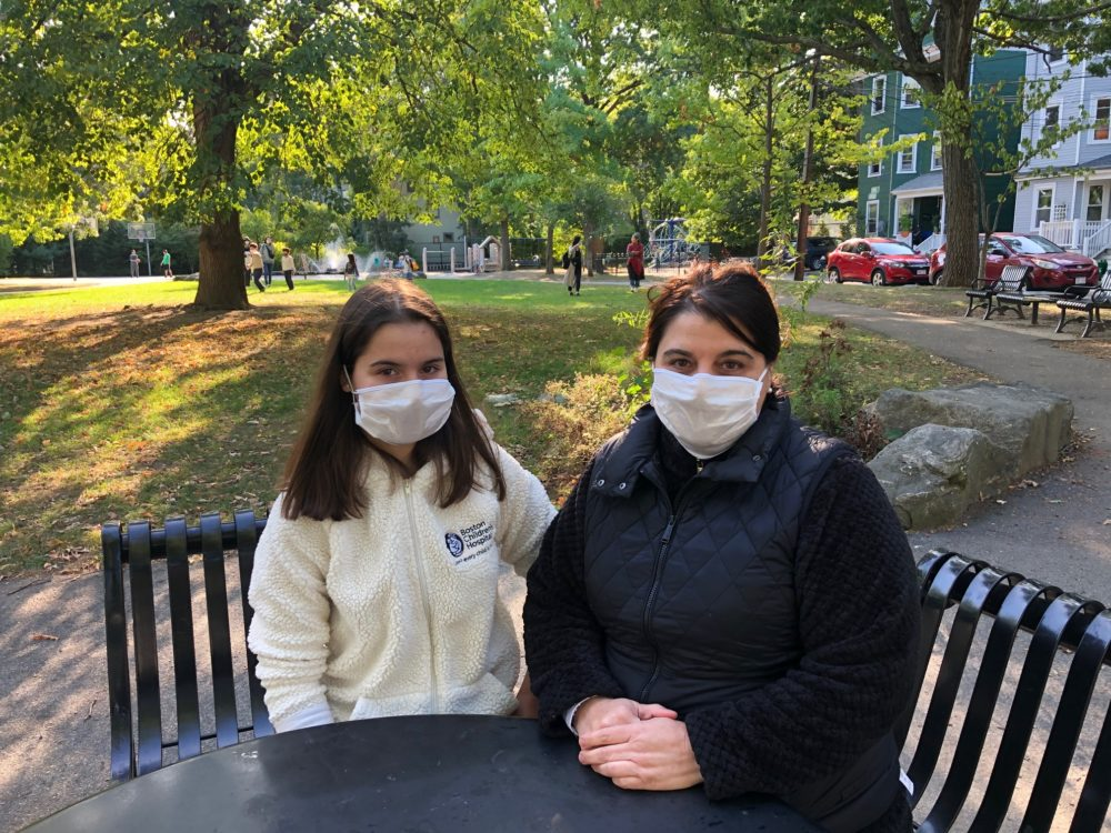 Serena Badia (left) was born in Spain and receives specialized cardiac treatment at Boston Children's Hospital. She and her mom, Conchita, both worry she won't be able to continue her treatments if her renewal of medical deferred action is denied. (Shannon Dooling/WBUR)