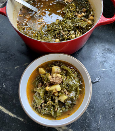 Portuguese-Style Kale, Chorizo And Chickpea Soup (Kathy Gunst)