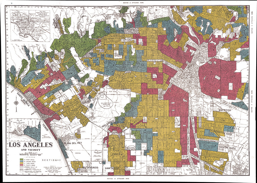 "A digital image of a map used for redlining in Los Angeles, California. The faded red sections were labeled as ""hazardous."" (Courtesy of the University Of Richmond's Mapping Inequality project)"