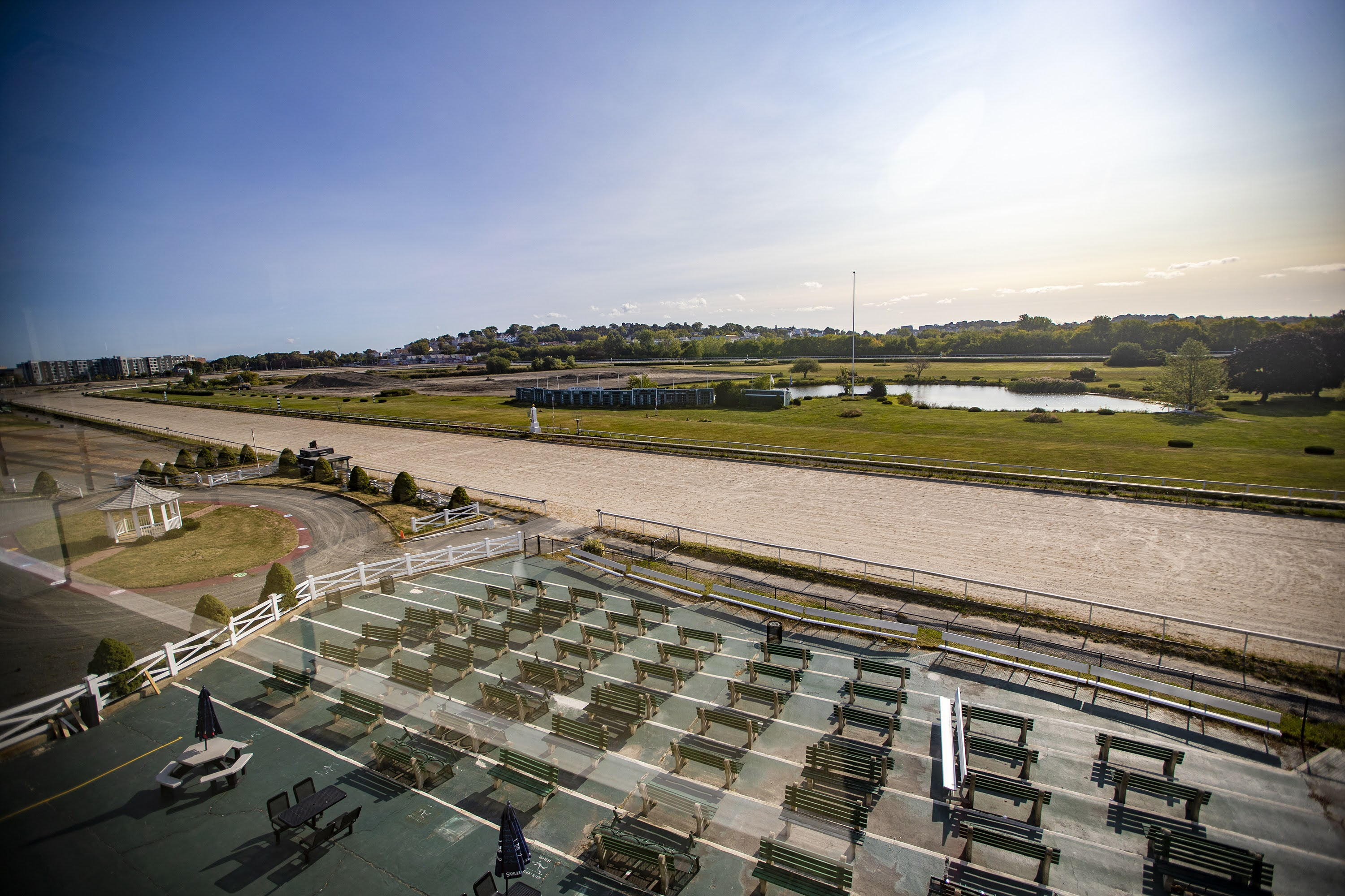 The Suffolk Downs race track in East Boston is set to be redeveloped into a new neighborhood by HYM  Investment Group. (Jesse Costa/WBUR)