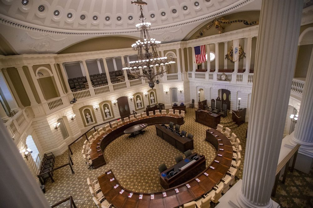 The Senate chamber in the Massachusetts State House. (Jesse Costa/WBUR)