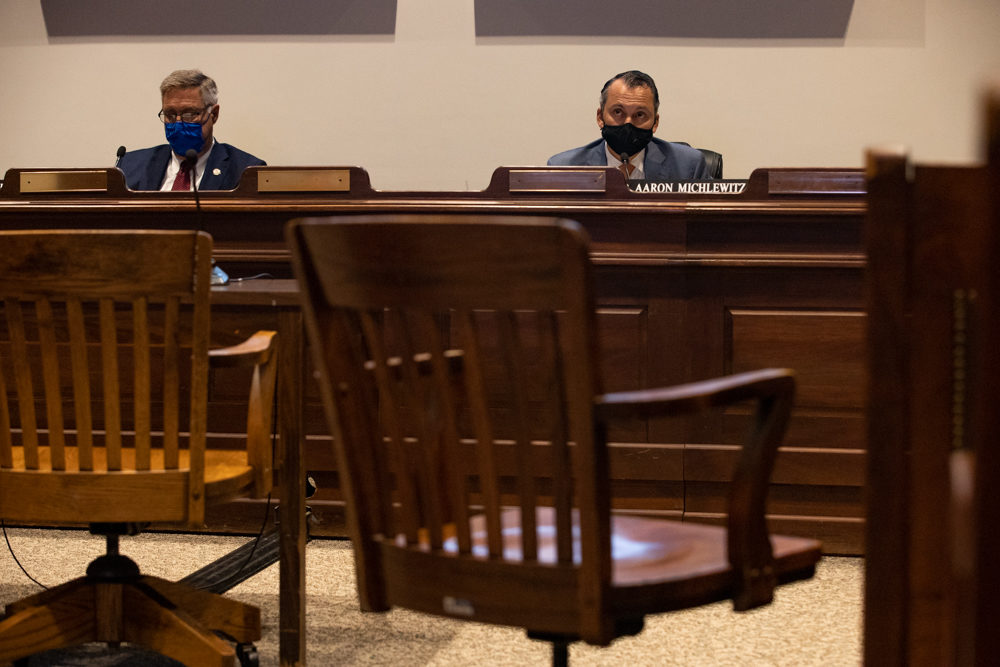 Sen. Michael Rodrigues and Rep. Aaron Michlewitz on Oct. 7, 2020. (State House News Service)