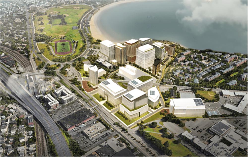 A rendering shows the Dorchester Bay City development in a view looking north. (Courtesy Epsilon Associates, Inc. via Dorchester Reporter)