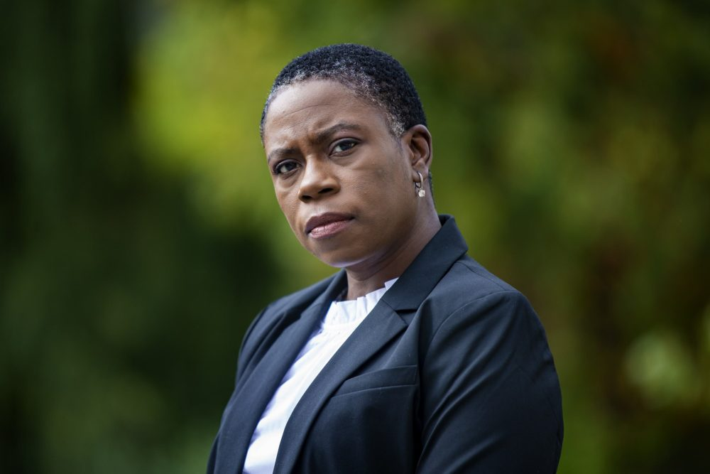 Victoria Greer was placed on leave as superintendent of Sharon Public Schools in September. Greer has filed a complaint alleging the school committee racially discriminated against her. (Jesse Costa/WBUR)