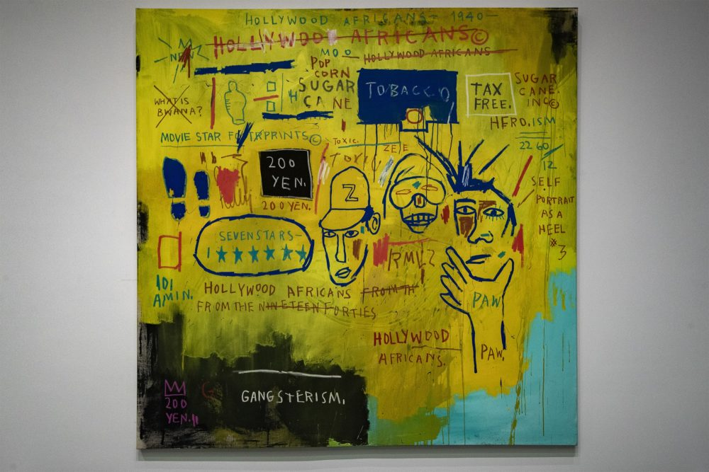 """Hollywood Africans"" by Jean‑Michel Basquiat. (Jesse Costa/WBUR)"