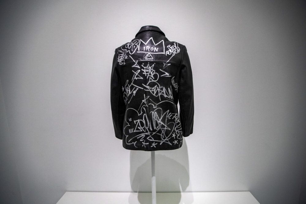 """Leather Jacket"" tagged by Jean Michel-Basquiat. (Jesse Costa/WBUR)"