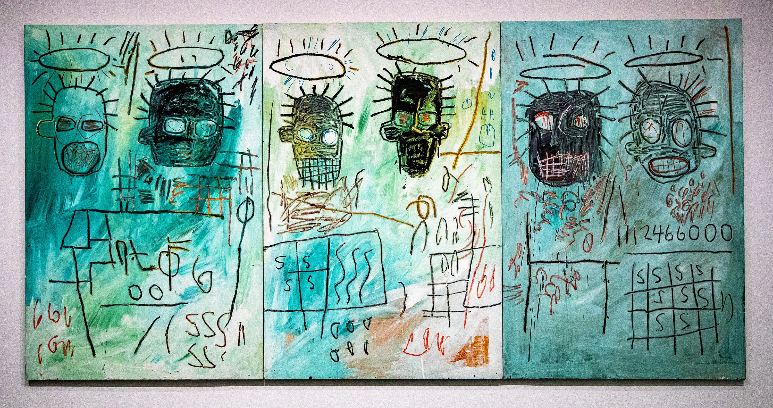 """Six Crimee"" by Jean-Michel Basquiat. (Jesse Costa/WBUR)"