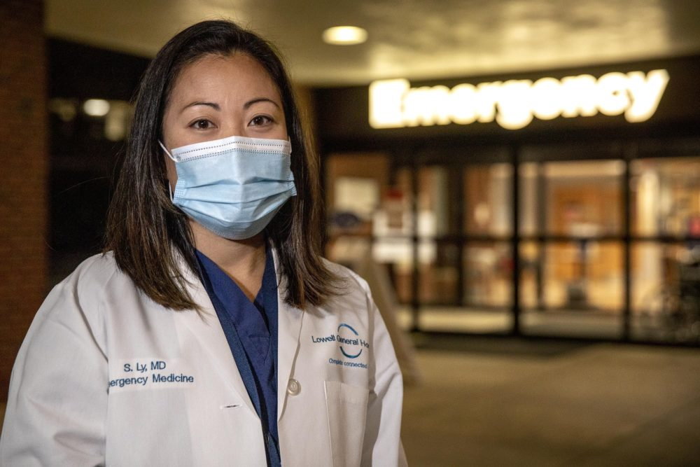 """Dr Susan Ly, an emergency room physician at Lowell General Hospital, is tired. """"Please be vigilant and patient,"""" she urges as coronavirus cases rise. (Robin Lubbock/WBUR)"""