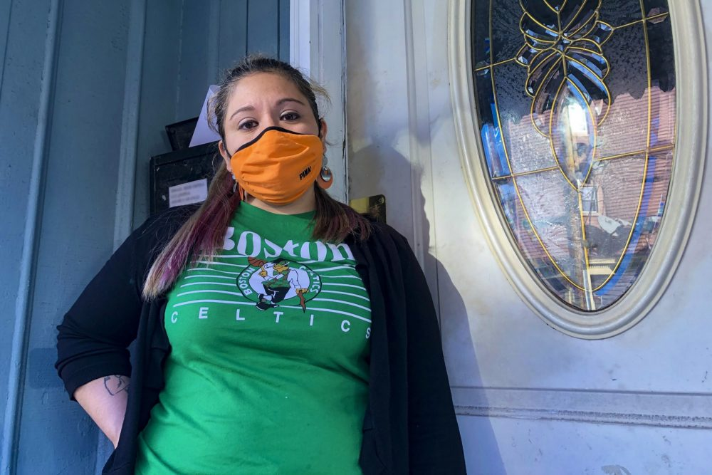 Ada lost her restaurant job in March. Because she's in the country without documentation, she's not eligible for unemployment benefits. (Shannon Dooling/WBUR)