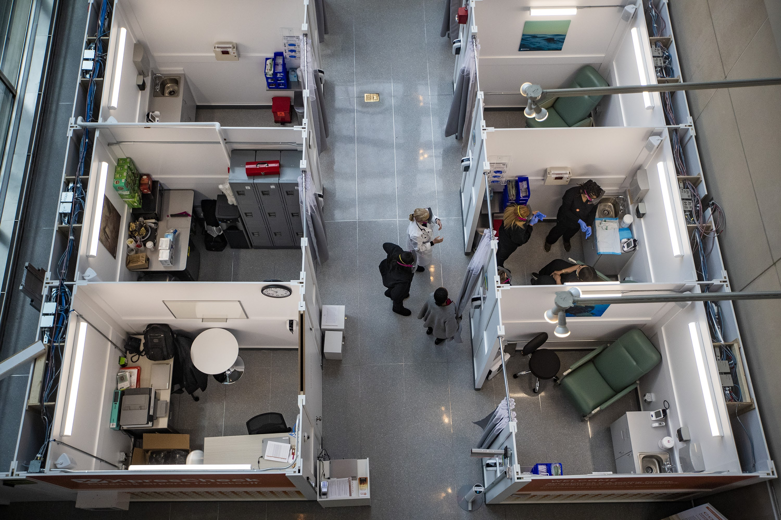 An overhead view of the XpresCheck COVID testing facility in Terminal E at Logan Airport on Wednesday. (Jesse Costa/WBUR)