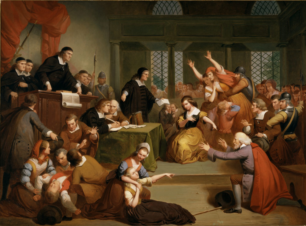 """""""Trial of George Jacobs, Sr. for Witchcraft"""" (1855) by Tompkins Harrison Matteson. (Courtesy of Peabody Essex Museum)"""