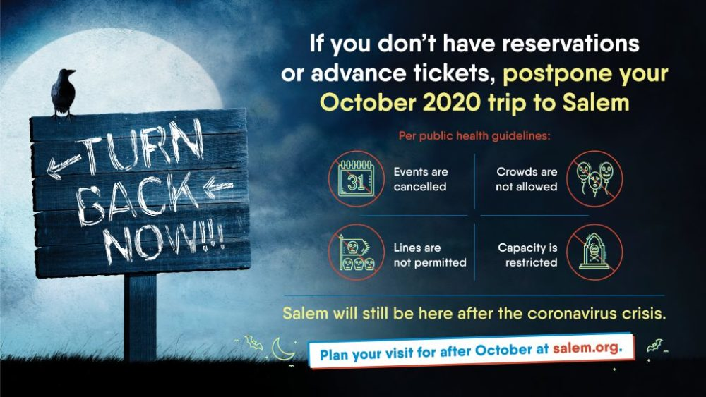 A PSA on Salem's tourism website discouraging Halloween visitors during the coronavirus pandemic. (Courtesy City of Salem)