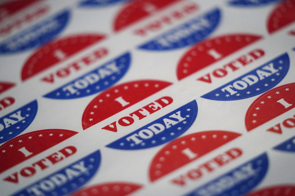 Vote stickers are seen at a satellite election office at Temple University's Liacouras Center, Tuesday, Sept. 29, 2020, in Philadelphia. (Matt Slocum/AP)