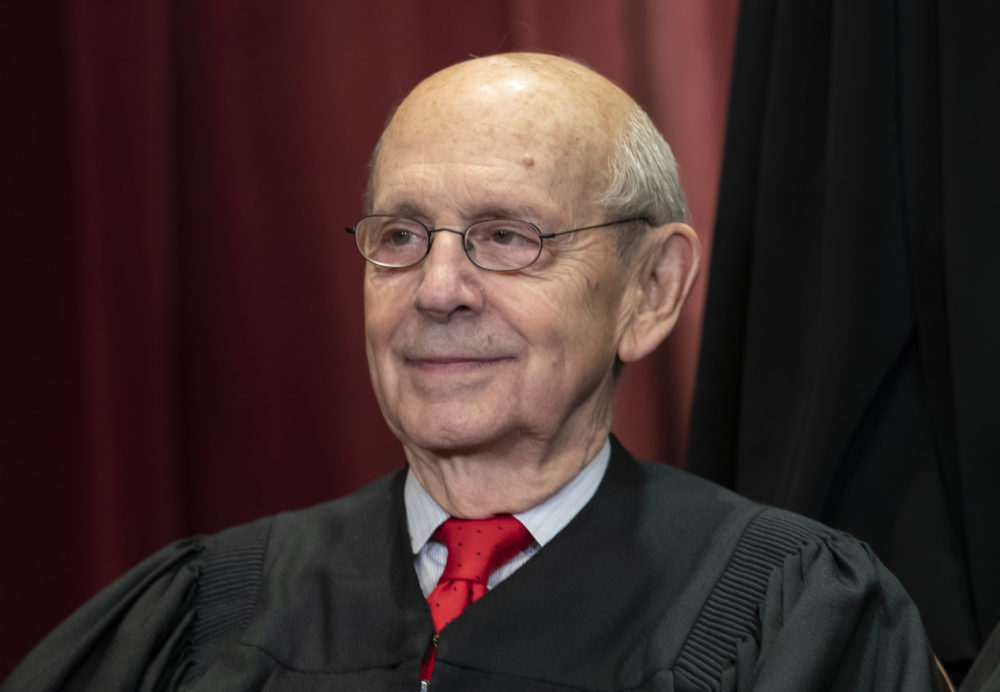 In this Nov. 30, 2018, file photo, Associate Justice Stephen Breyer sits with fellow Supreme Court justices for a group portrait at the Supreme Court Building in Washington. (J. Scott Applewhite/AP Photo File)