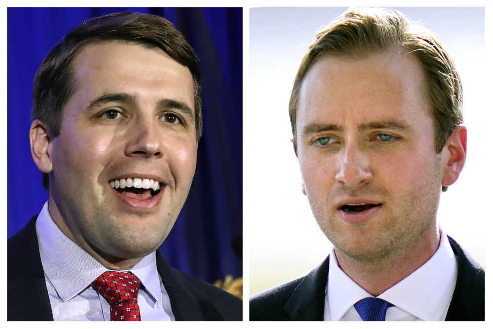 Incumbent U.S. Rep Chris Pappas, D-NH, left, and Republican challenger Matt Mowers, right, candidates in New Hampshire's 1st Congressional District general election. (AP Photos, File)