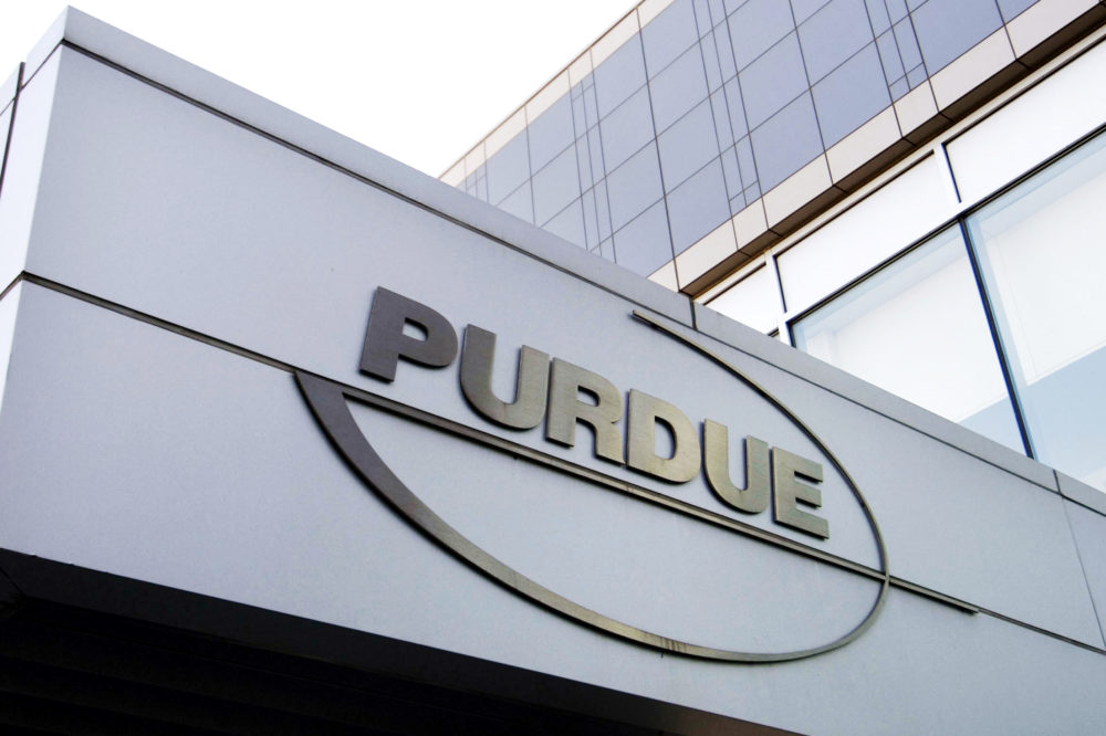 This May 8, 2007, file photo shows the Purdue Pharma logo at its offices in Stamford, Conn. (Douglas Healey/AP File)