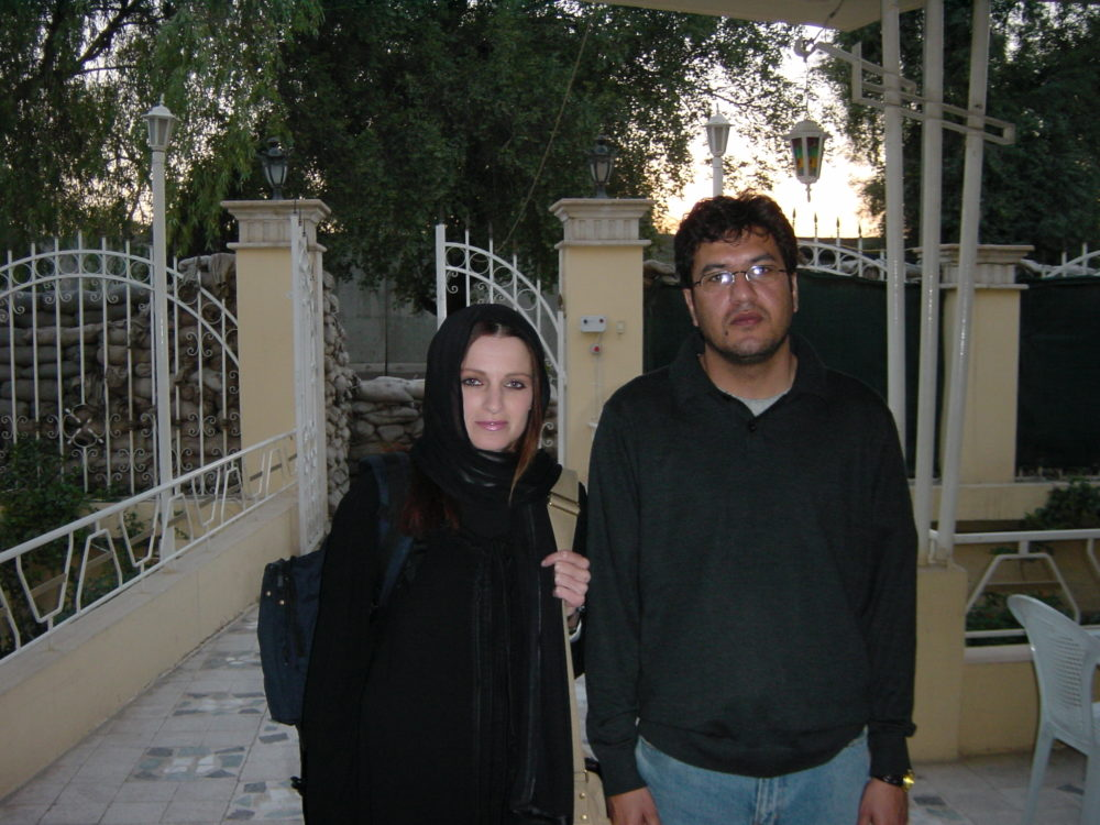 Abdulrazzaq al-Saiedi, left, with his colleague Tresha Mabile in Iraq after the U.S. invasion in 2003, while he was working as a journalist.
