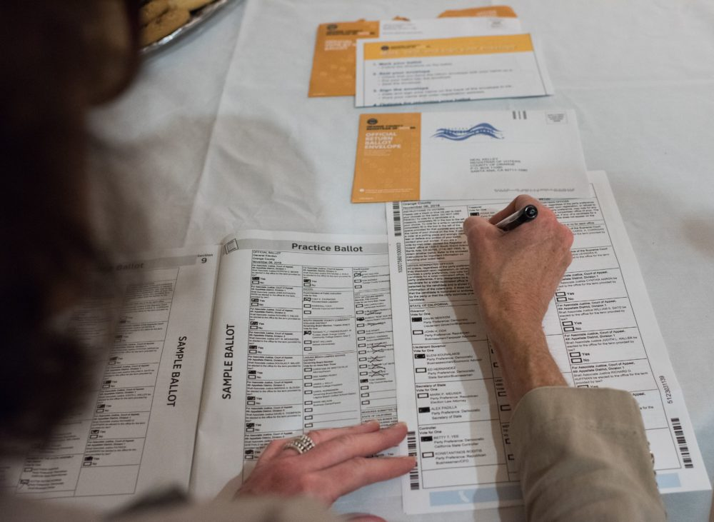 Voter Becky Visconti completes her mail-in ballot at a Ballot Party at a private residence in Laguna Niguel, California, on Oct. 24, 2018. (Robyn Beck/AFP via Getty Images)