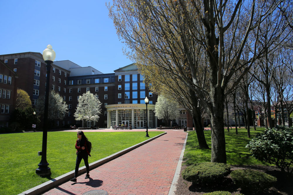 Snowden Hall on the campus of Johnson & Wales University in Providence is pictured on April 25, 2019. (Lane Turner/The Boston Globe via Getty Images)