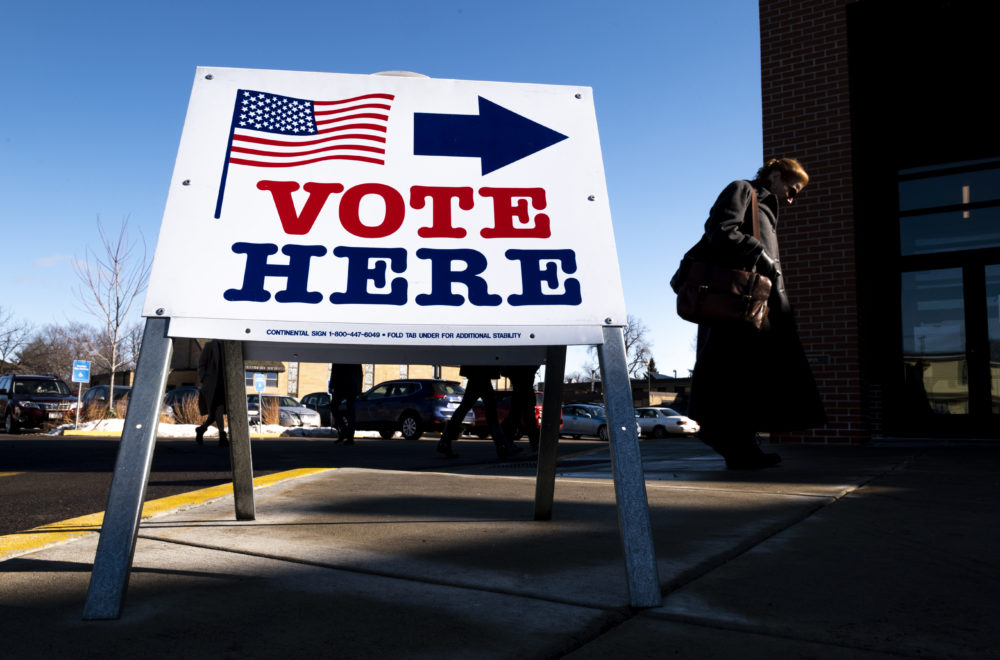 A voter arrives at a polling place on March 3, 2020 in Minneapolis, Minnesota. (Stephen Maturen/Getty Images)