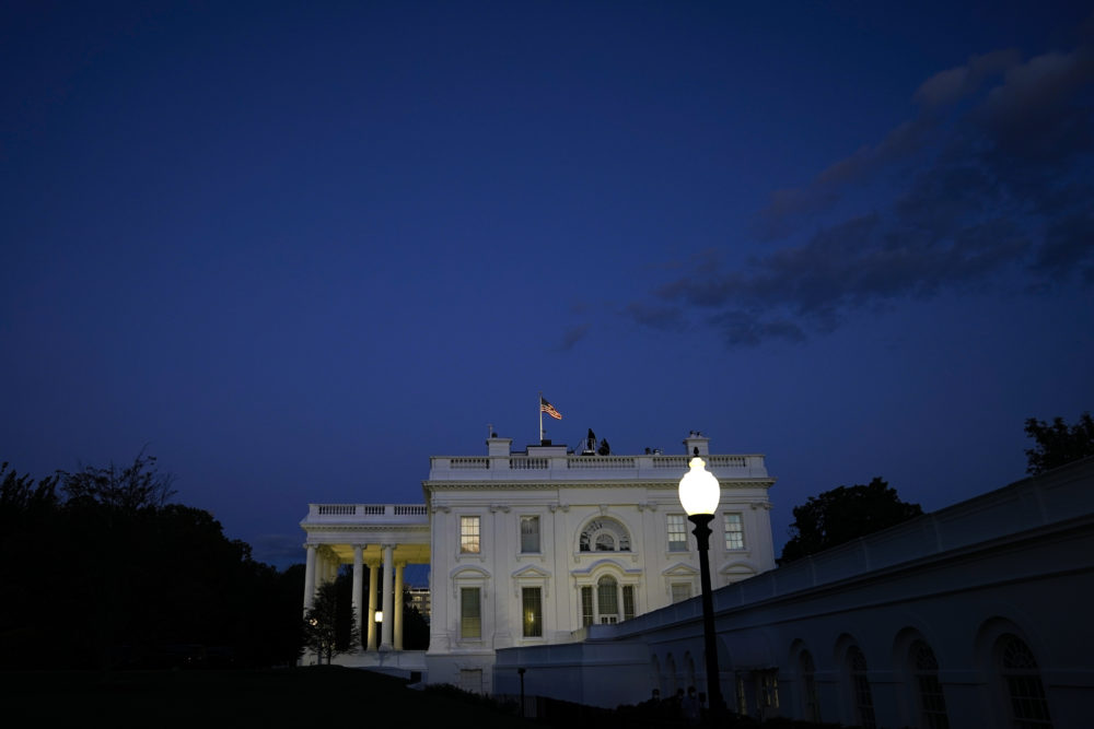 A view of the White House on Friday evening after U.S. President Donald Trump left the White House for Walter Reed National Military Medical Center on October 2, 2020 in Washington, DC. President Donald Trump and First Lady Melania Trump have both tested positive for coronavirus. (Drew Angerer/Getty Images)