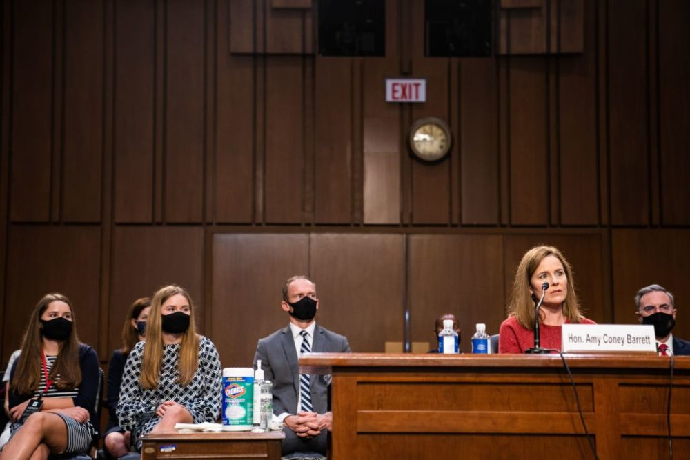 Supreme Court nominee Judge Amy Coney Barrett testifies during day two of the Senate Judiciary Committee hearing on Capitol Hill in Washington October 13, 2020. (Demetrius Freeman/AFP via Getty Images)