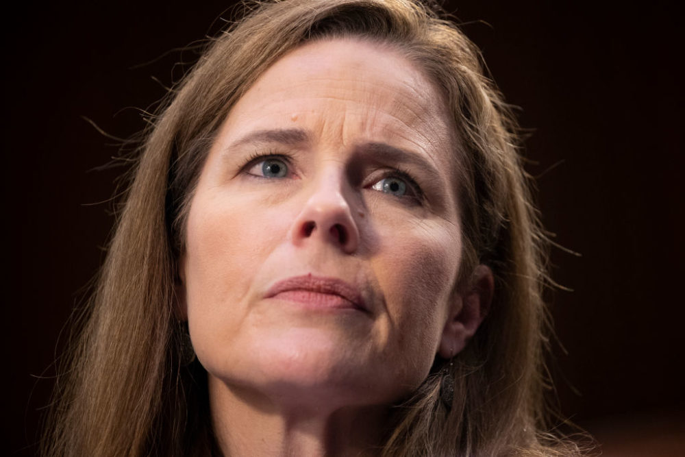 Supreme Court nominee Judge Amy Coney Barrett testifies before the Senate Judiciary Committee on the third day of her Supreme Court confirmation hearing on Capitol Hill on October 14, 2020 in Washington, DC.  (Michael Reynolds-Pool/Getty Images)
