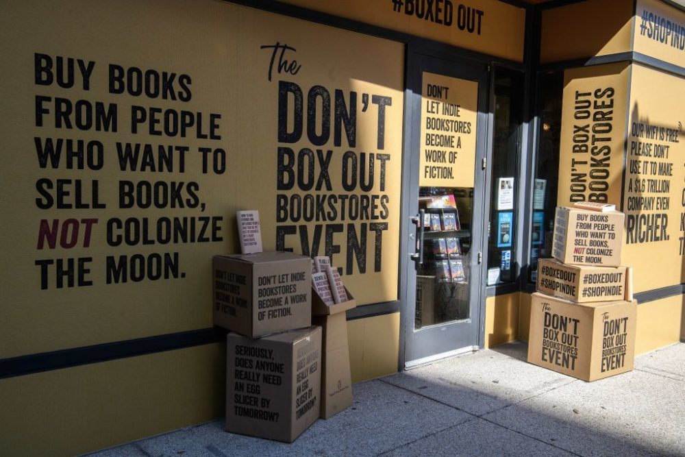 The American Booksellers Association launched an advertising campaign against Amazon to alert the public to what it calls the growing danger that book stores are under from the online goliath during the coronavirus pandemic. (Nicholas Kamm/AFP/Getty Images)