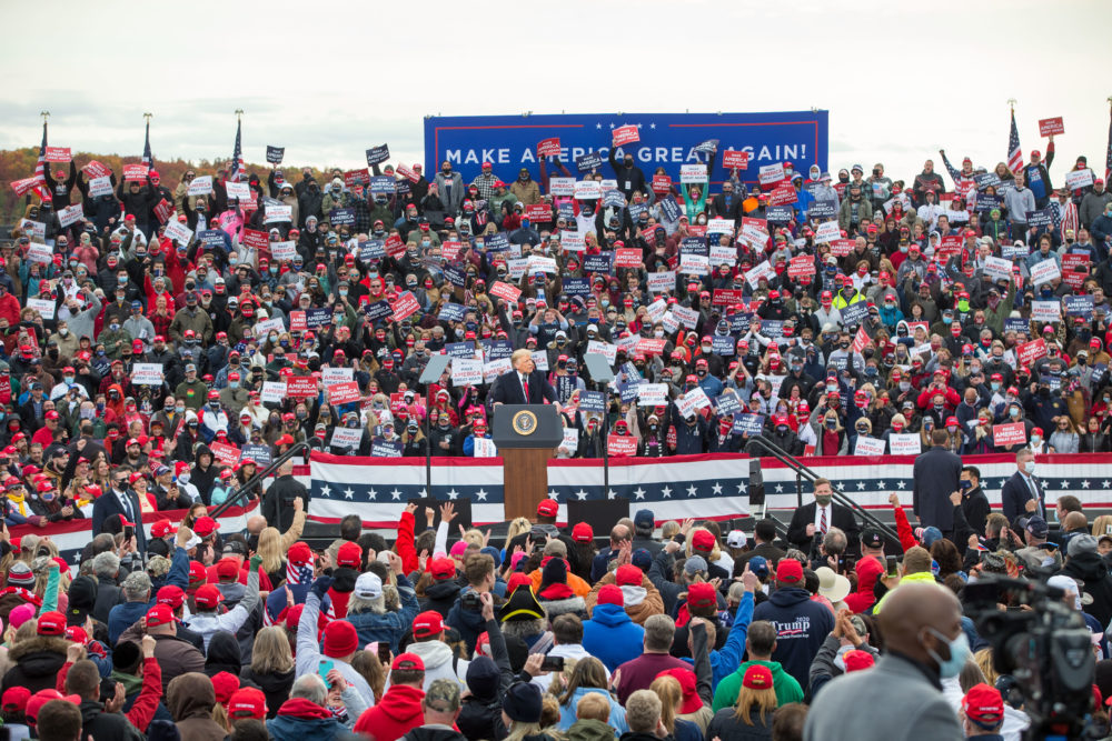 Trump speaks during a rally on Oct. 25, 2020 in Londonderry. (Scott Eisen/Getty Images)