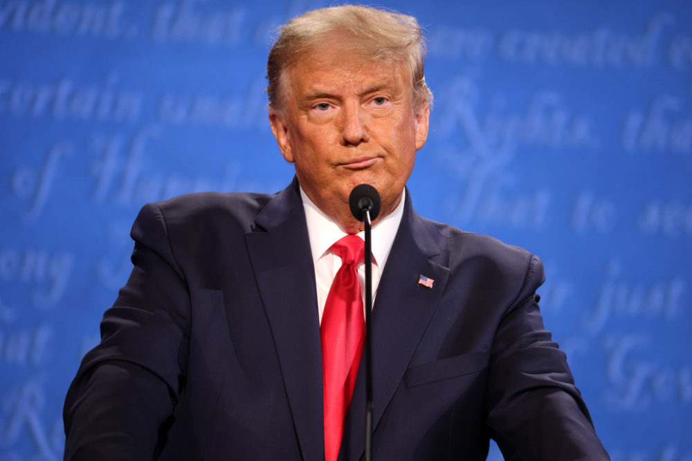 U.S. President Donald Trump participates in the final presidential debate against Democratic presidential nominee Joe Biden at Belmont University on October 22, 2020 in Nashville, Tennessee. This is the last debate between the two candidates before the election on November 3. (Justin Sullivan/Getty Images)