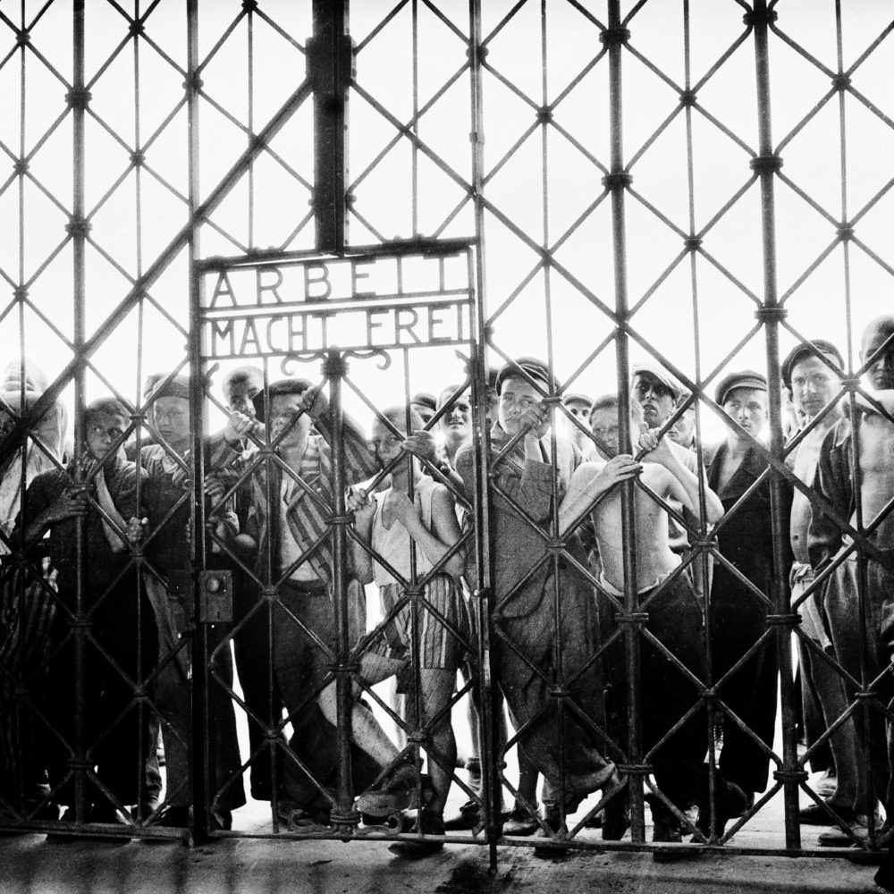 The main entrance to Dachau concentration camp on April 29, 1945, the day of its liberation. (Maurice EDE/Gamma-Rapho via Getty Images)