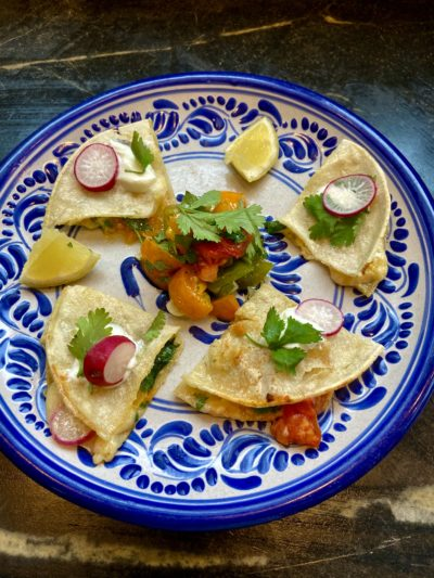 Cheese and salsa quesadillas. (Kathy Gunst)