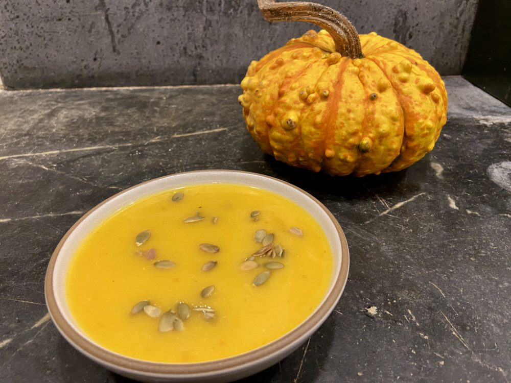 Pumpkin-coconut soup. (Kathy Gunst)