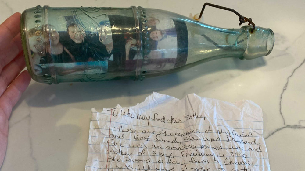 Brandy Bard sent out a letter and photographs in a bottle to honor her cousin Star Lynn Douillard who died in February.  (Dorey Scheimer/WBUR)