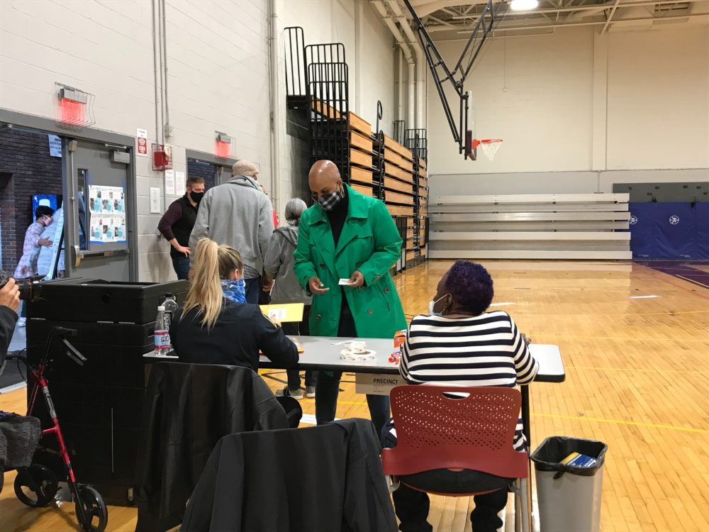 Congresswoman Ayanna Pressley casts her ballot early at the Shelburne Community Center in Roxbury. (Quincy Walters/WBUR)