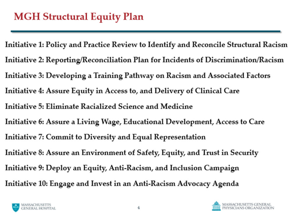 A screenshot of a slide from a Mass General Brigham presentation outlining its 10-point plan to address racism within the hospital system. (Courtesy Mass General Brigham)