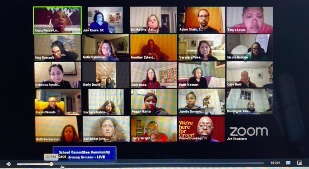 A screenshot of the public Sharon School Committee community listening session. (Cristela Guerra/WBUR)