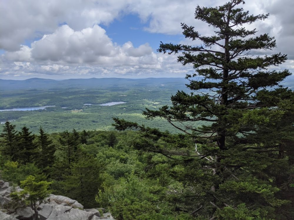 """Looking down from a rocky ledge on Mount Monadnock, which inspired the setting for author Andrew Krivak's novel, """"The Bear"""""""