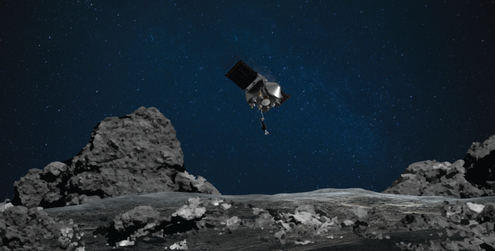 Image rendering shows OSIRIS-REx spacecraft descending toward asteroid Bennu to collect a sample of the asteroid's surface. (NASA/Goddard/University of Arizona)
