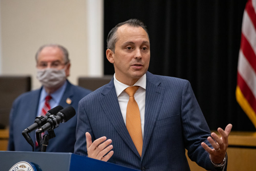 House Ways and Means Chairman Aaron Michlewitz adopted many of the same one-time revenue sources that Gov. Charlie Baker relied on in his revised budget submission. (Sam Doran/SHNS)