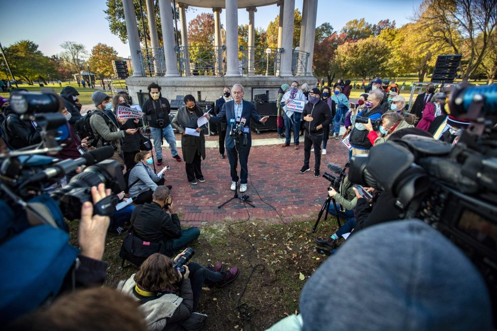 "Sen. Ed Markey spoke at a ""Count Every Vote"" rally on Boston Common Nov. 5. Markey's reelection helped Massachusetts Democrats preserve an all-blue congressional delegation. However, Markey has not pledged to support the Democratic nominee for governor in 2022. (Jesse Costa/WBUR)"