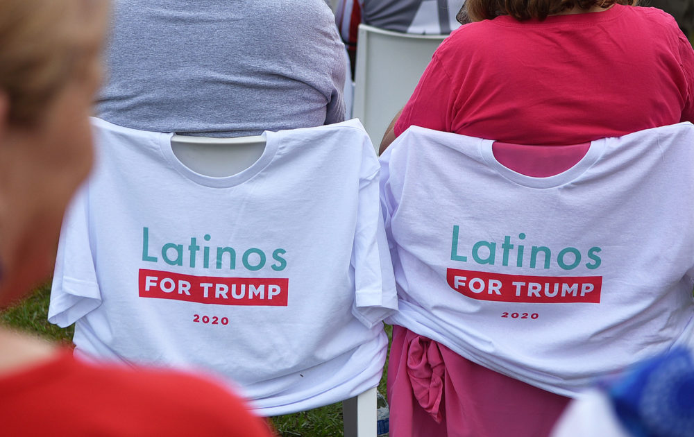 T-shirts on chairs before a Latinos for Trump campaign event with Vice President Mike Pence at Central Christian University on Oct. 10, 2020 in Orlando, Florida. (Paul Hennessy/NurPhoto via Getty Images)