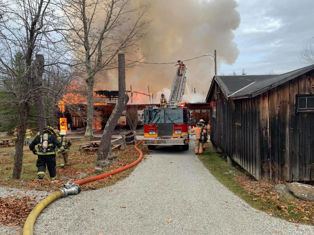 Firefighters working to put out the fire at Jacob's Pillow. (Courtesy Monterey Fire Department/Facebook)