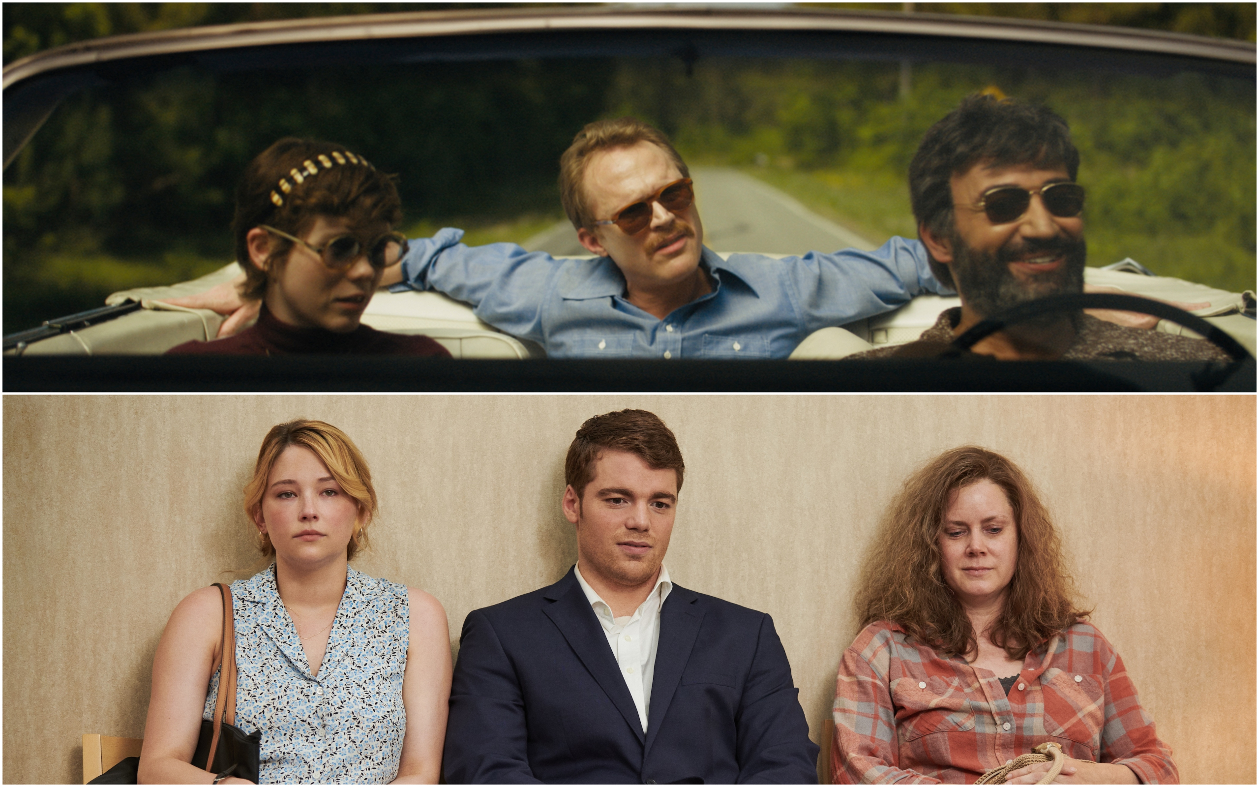 """Top photo: Left to right, Sophia Lillis, Paul Bettany and Peter Macdissi in """"Uncle Frank."""" (Courtesy Amazon Studios) Bottom photo: Left to right:,Haley Bennett, Gabriel Basso and Amy Adams in """"Hillbilly Elegy."""" (Courtesy Lacey Terrell/Netflix)"""