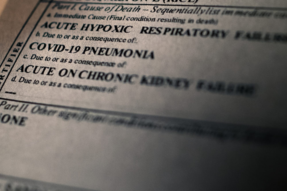 A portion of the death certificate of Milton Rice, a 76-year-old prisoner at MCI-Norfolk, who died on Nov. 25 of COVID-19 and related complications. (Jesse Costa/WBUR)