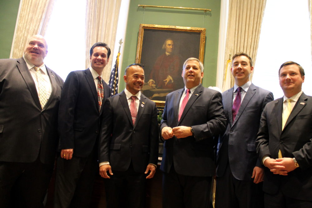 The Senate Republican caucus boasted six members when Sen. Dean Tran (third from left) was sworn into office just before Christmas in 2017. Since then, (from left) Sens. Donald Humason of Westfield and Vinny deMacedo of Plymouth have resigned their seats to pursue other jobs and Tran, of Fitchburg, lost his reelection bid Tuesday, leaving Sens. Bruce Tarr of Gloucester, Ryan Fattman of Sutton, and Patrick O'Connor of Weymouth as a caucus of three for the 2021-2022 session. (SHNS File Photo 2017)
