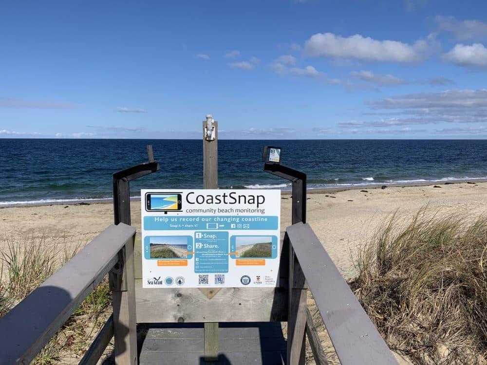 CoastSnap setup on Town Neck Beach in Sandwich. (Courtesy Greg Berman/Woods Hole Sea Grant)