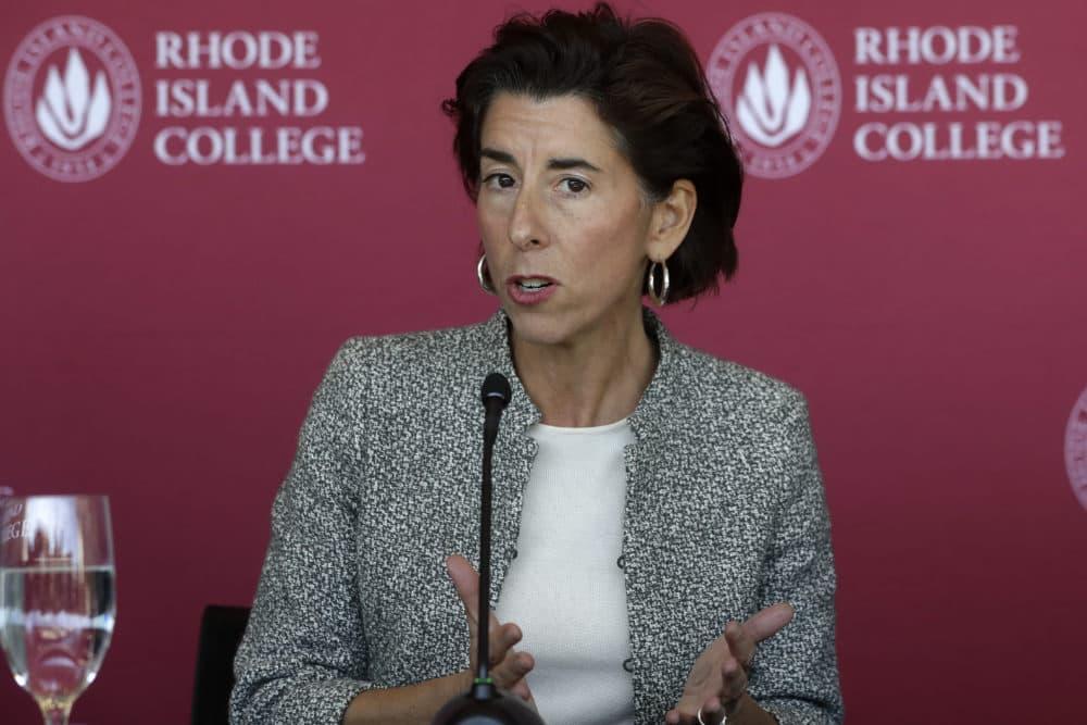 Rhode Island Gov. Gina Raimondo speaks to the media, Oct. 24, 2019, on the campus of Rhode Island College, in Providence. (Steven Senne/AP)