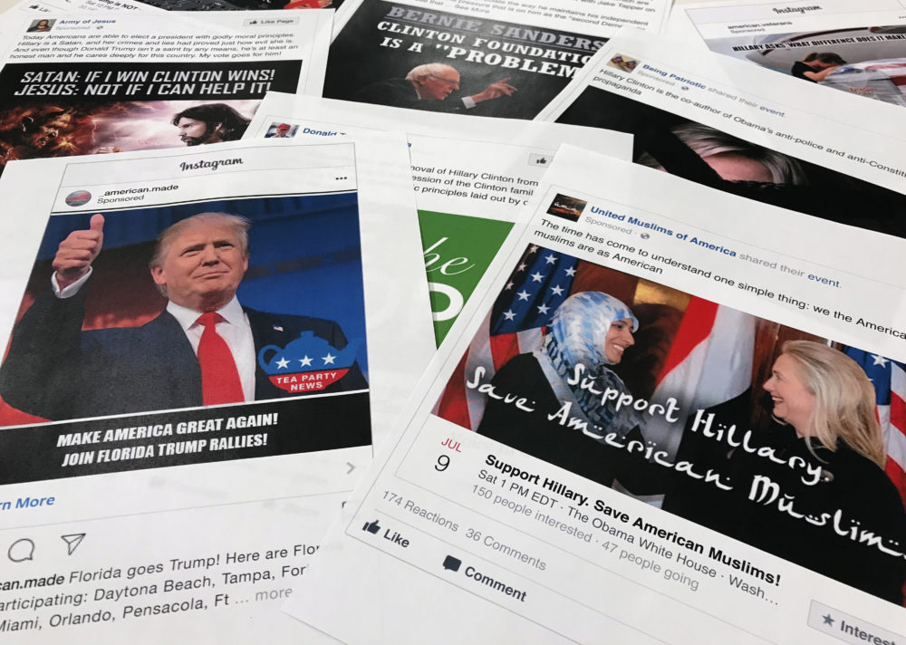 This Nov. 1, 2017 file photo shows printouts of some of the Facebook and Instagram ads linked to a Russian effort to disrupt the American political process and stir up tensions around divisive social issues, released by members of the U.S. House Intelligence committee, photographed in Washington. (Jon Elswick/AP)